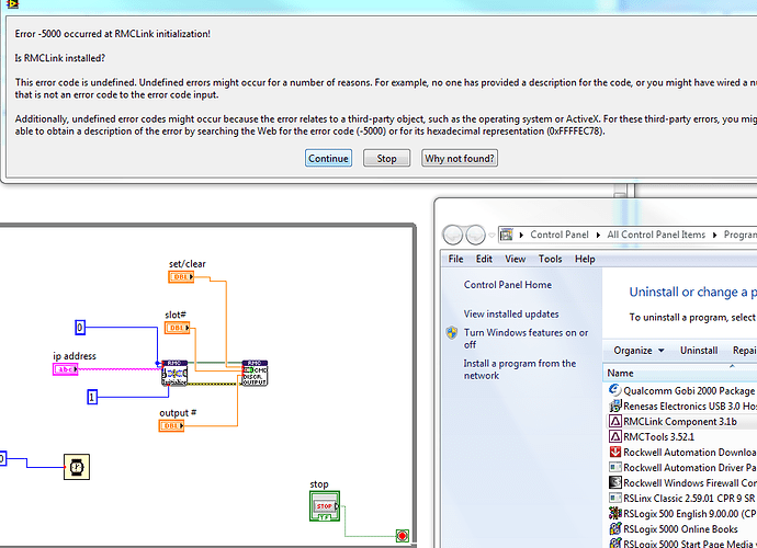 Labview RMC75e communications problem - RMCLink - Delta